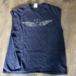 Vintage Navy USA Graphic Sleeveless T Shirt